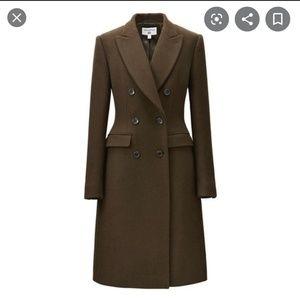 Carine Roitfeld Green Double Breasted Wool Coat